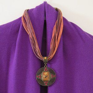 TRISTAN -Pink/Purple leather necklace with pendant